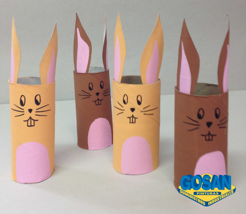 Conejos de pascua pinturas coche interiores y manualidades - Rollos de papel higienico decorados ...